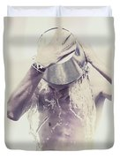 Man Pouring Cold Water From Wine Cooler Over Body Duvet Cover by Jorgo Photography - Wall Art Gallery