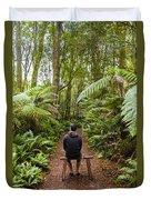 Man Relaxing In Strahan Rainforest Retreat Duvet Cover