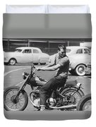 Man Riding A Motorcycle Duvet Cover