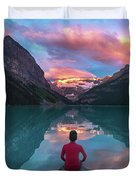 Man Sit On Rock Watching Lake Louise Morning Clouds With Reflect Duvet Cover