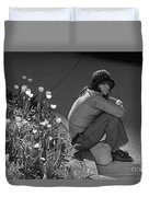 Man Sitting Along Curb  Duvet Cover