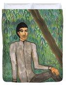 Man Sitting Under Willow Tree Duvet Cover