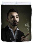 Man Smoking A Cigar Duvet Cover