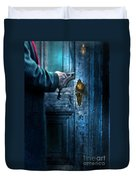Man With Keys At Door Duvet Cover