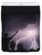 Man With Lightning, Arizona Duvet Cover