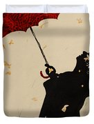 Man With Red Umbrella    Duvet Cover