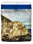 Manarola In The Sun - Vintage Version Duvet Cover