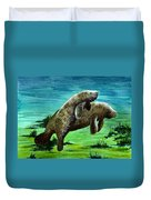 Manatee Mother And Young Duvet Cover