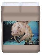 Manatee Swimming Underwater Duvet Cover