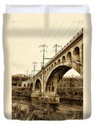 Manayunk Bridge Across The Schuylkill River In Sepia Duvet Cover