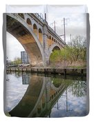 Manayunk Canal Bridge Reflection Duvet Cover