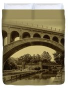 Manayunk Canal In Sepia Duvet Cover