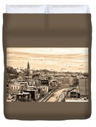 Manayunk In March - Canal View In Sepia Duvet Cover