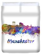 Manchester Nh Skyline In Watercolor Duvet Cover
