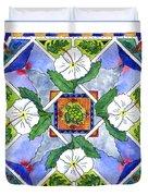 Mandala IIi - White Hibiscus Duvet Cover