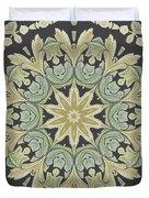 Mandala Leaves In Pale Blue, Green And Ochra Duvet Cover