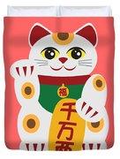 Maneki Neko Beckoning Cat Illustration Duvet Cover