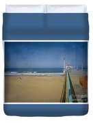 Manhattan Beach Pier Back Then Duvet Cover