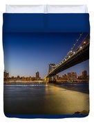 Manhattan Bridge At Night Duvet Cover