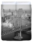 Manhattan Bridge Black And White Photograph Duvet Cover