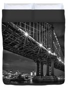 Manhattan Bridge Frames The Brooklyn Bridge Duvet Cover by Susan Candelario