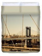 Manhattan Bridge From The Brooklyn Bridge  Duvet Cover