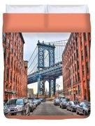Manhattan Bridge Landscape From Dumbo Duvet Cover