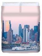 Manhattan Cruise Terminal And Skyline Duvet Cover