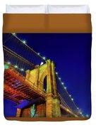 Manhattan Skyline From The Brooklyn Bridge At Dusk Duvet Cover