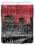 Manhattan Skyline - Graphic Art - Red Duvet Cover