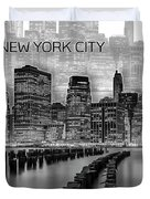Manhattan Skyline - Graphic Art - White Duvet Cover