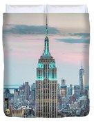 Manhattan Skyline Panoramic, New York City, Usa Duvet Cover