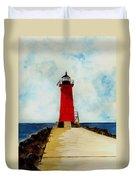 Manistique Breakwater Lighthouse Duvet Cover