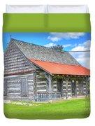 Manistique Schoolcraft County Museum Log Cabin -2158 Duvet Cover