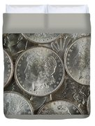 Many American Silver Dollars  Duvet Cover