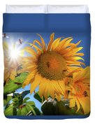 Many Bees Flying Around Sunflowers Duvet Cover