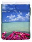 Many Pink Kayaks Duvet Cover