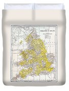 Map: England & Wales Duvet Cover