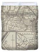 Map Illustrating General Lee's Advance Into Pennsylvania  Duvet Cover