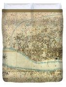 Map Of Calcutta 1857 Duvet Cover