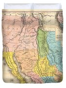 Map Of California New Mexico Texas  1849 Duvet Cover