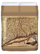Map Of Connecticut 1795 Duvet Cover