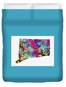 Map Of Connecticut-colorful Duvet Cover