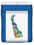 Map Of Delaware-colorful Duvet Cover