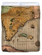 Map Of Florida 1591 Duvet Cover