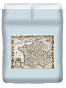 Map Of France, 1627 Duvet Cover