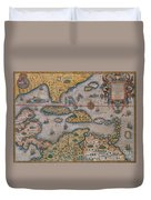 Map Of Gulf Of Mexico And C Duvet Cover
