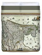 Map Of Holland 1682 Duvet Cover