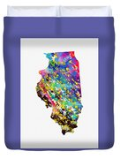 Map Of Illinois-colorful Duvet Cover