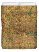 Map Of London England United Kingdom Vintage Street Map Schematic Circa 1899 On Old Worn Parchment  Duvet Cover